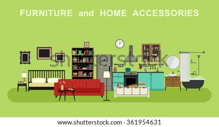 Furniture and home accessories banner with vector flat icons sofa, bookshelf, bed, bathroom, kitchen, etc. - stock vector