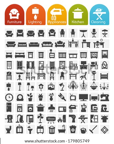 Furniture and home appliances Icons - Bulk series - stock vector