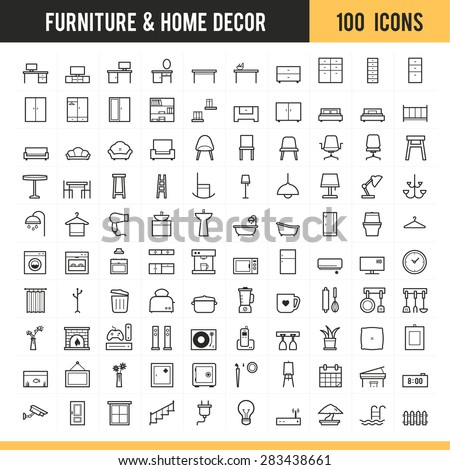 Furniture and home decor icon set. Vector illustration.
