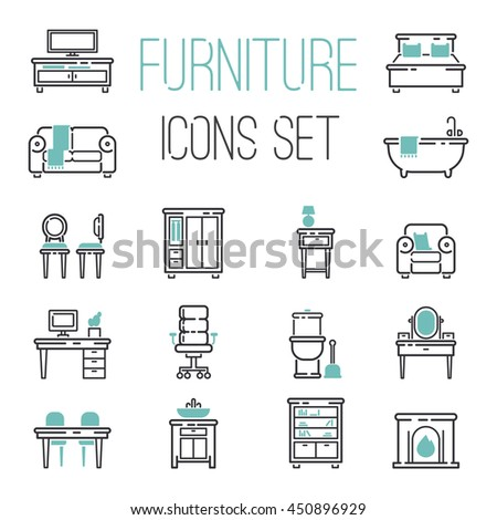 Furniture and home decor icon set vector illustration. Indoor cabinet interior room library, office bookshelf furniture icons. Modern closet bedroom silhouette furniture icons outline decoration. - stock vector