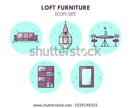 Furniture And Home Decor Icon Set. Vector Illustration. Loft Vintage Style.  5 Icons