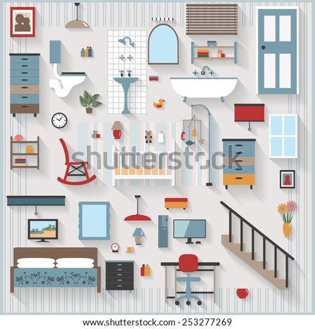 Furniture and Long Shadows icons, Nursery or Baby Room with Cot, bedroom, bathroom, stairs, All items grouped separately and easy to move or edit
