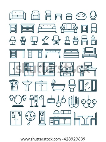 Furniture and sanitary line thin vector icons. Furniture interior set icon and furniture for home room kitchen and bathroom illustration - stock vector