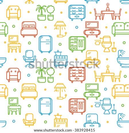 pattern furniture. Furniture Background Pattern. Color Outline Icon. Vector Illustration Pattern E