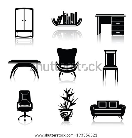 Furniture black decorative icons set of wardrobe armchair sofa isolated vector illustration - stock vector