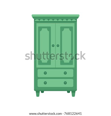 Furniture Cartoon Vector Illustration. Wood Wardrobe Flat Style Isolated  Icon. Room Interior Elements Collection
