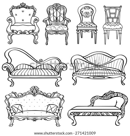 Furniture Chair, Armchair, Throne, Sofa, Couch, Divan, Bed Front View
