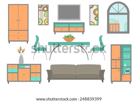 Furniture collection for a living room. Modern flat design illustration. - stock vector