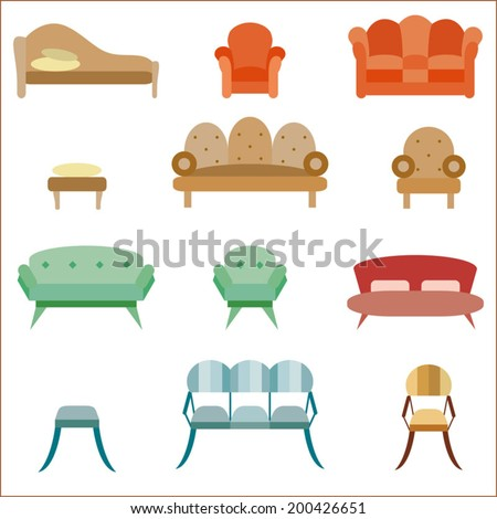 Furniture collection, sofa and armchair icon set - stock vector