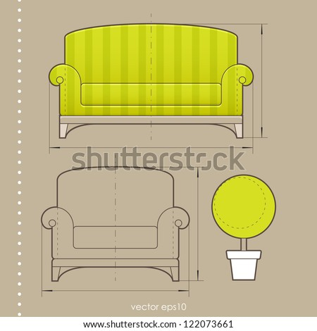 Furniture design - stock vector