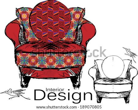 Furniture Design Vector Sketch of a Red Upholstered Chair - stock vector