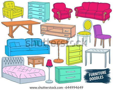Furniture doodles set  Interior design sketch collection  Home accessories   Modern armchair  Retro. Furniture Stock Images  Royalty Free Images   Vectors   Shutterstock