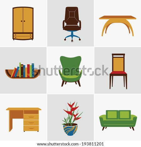Furniture flat decorative icons set of chair bookshelf table  isolated vector illustration - stock vector