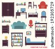 Furniture flat decorative icons set of cupboard armchair closet isolated vector illustration - stock vector
