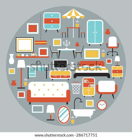 Furniture Flat Icons in Round Shape Heading, Household, Home Interior Objects - stock vector