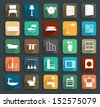 Furniture flat icons, Vector illustration modern template design - stock vector