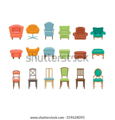 Furniture for Sitting. Chairs Armchairs Stools Icons. Vector Illustration Set - stock vector