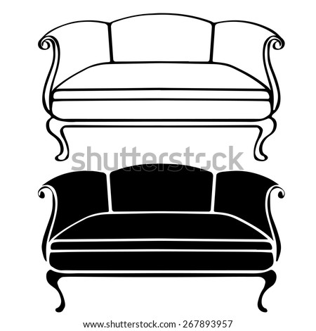 Delightful Couch Clipart Black And White. Furniture Hand Drawn Set Vintage Sofa Front  View Closeup Line