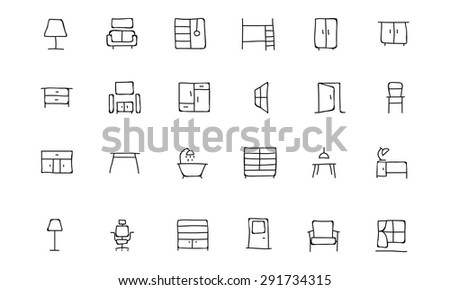 Furniture Hand Drawn Vector Icons 2 - stock vector