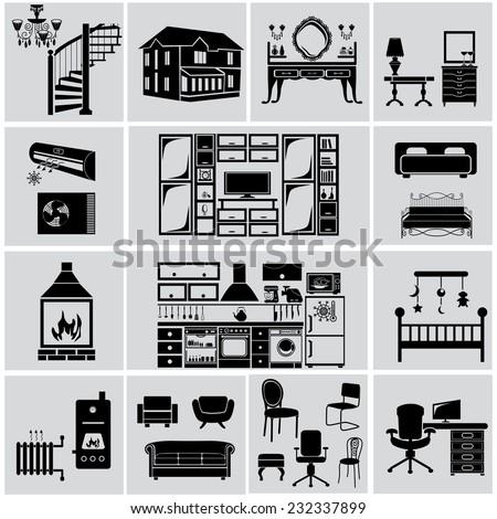 Furniture icon set. - stock vector