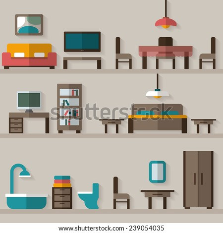 Furniture icon set for rooms of house. Flat style vector illustration. - stock vector