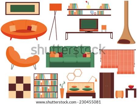 Furniture icon set, interior icon - stock vector