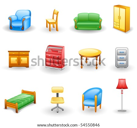 Furniture icon set.  Isolated on a white background. - stock vector