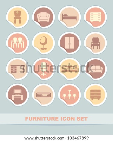 Furniture icon set on stickers - stock vector