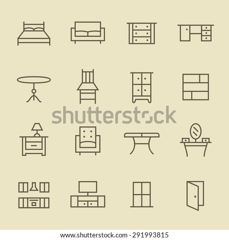 Furniture icons - stock vector