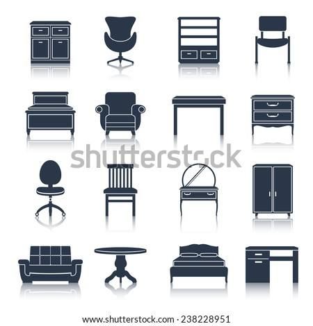 Furniture icons black set with bed sideboard chair office table isolated vector illustration - stock vector