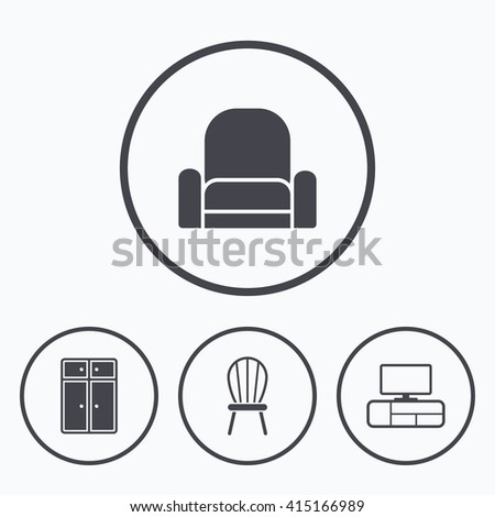 Modern Furniture Icon soft furniture drop shadow icons set stock vector 345480170