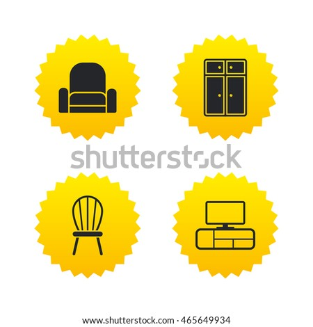 Furniture Icons Cupboard Chair Tv Table Stock Vector 465649934