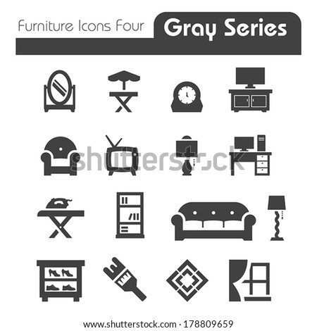 Furniture Icons gray series four - stock vector