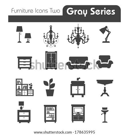Furniture Icons gray series two - stock vector