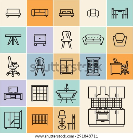 Furniture icons. Isolated flat furniture outline icons set. - stock vector