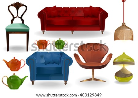 Furniture icons.Lamps, chandeliers, armchairs, sofa, chairs, kettle vector isolated on white background.Furniture for home.Big set of furniture.Modern flat design illustration.Interior set art. - stock vector
