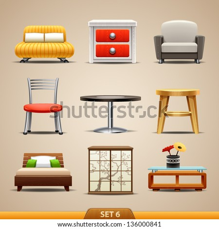Furniture icons-set 6 - stock vector
