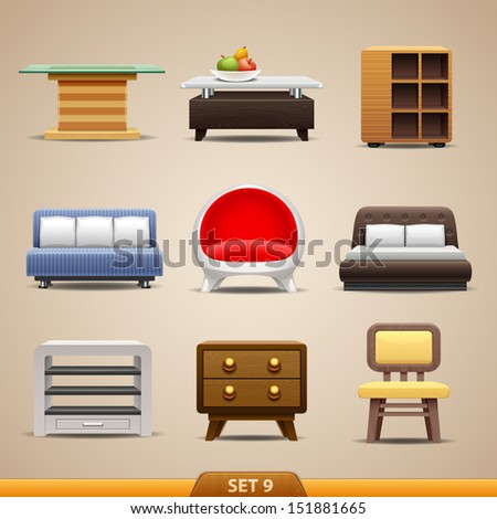 Furniture icons-set 9 - stock vector