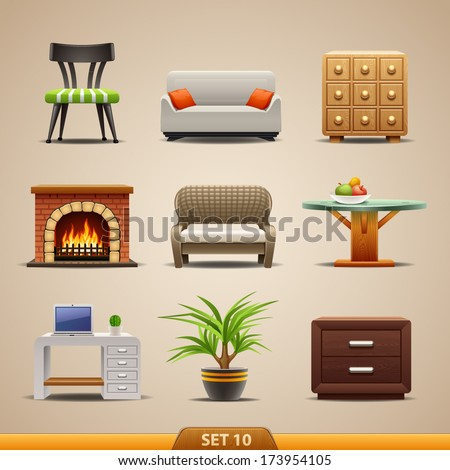 Furniture icons-set 10 - stock vector
