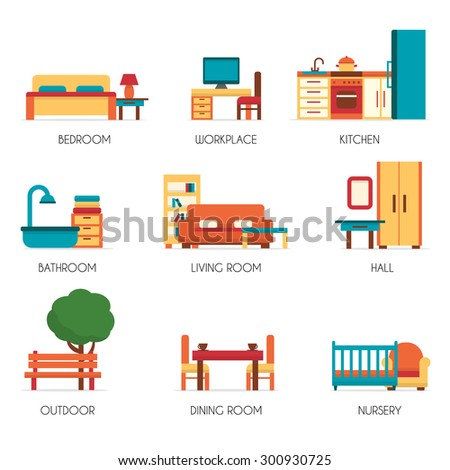 Furniture icons set. Flat style vector illustration. - stock vector