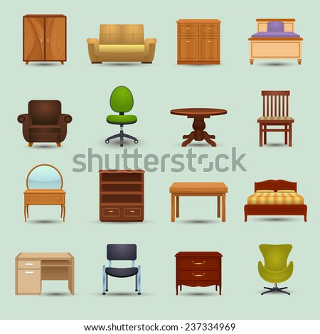 Furniture icons set with desk sofa bookshelf wardrobe office chair isolated vector illustration - stock vector