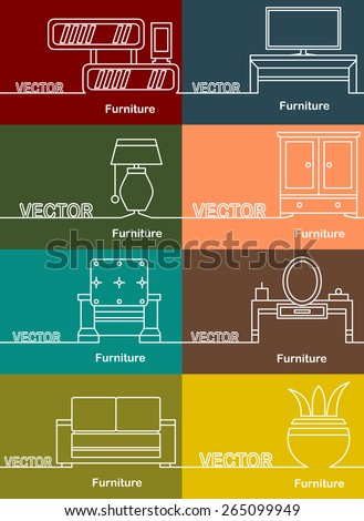 Furniture icons, simple and thin line design and space for text. Flat design.Banners - stock vector