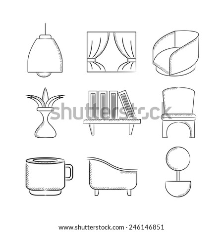 furniture icons, sketch line - stock vector