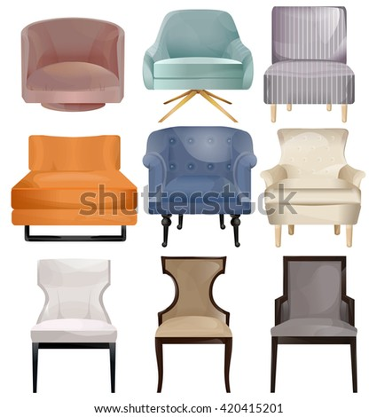 Furniture icons.Vector armchair isolated on a white background.Elements of interior.Modern interior.Big set of furniture.Modern flat design illustration.Interior set art. - stock vector