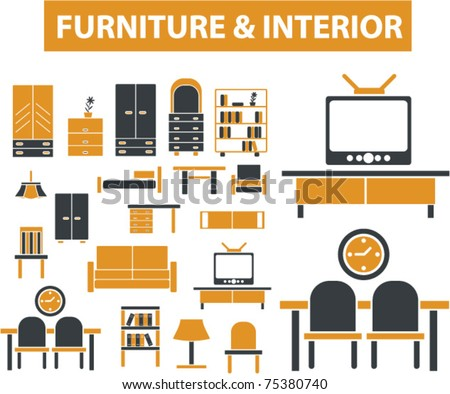 furniture & interior, decoration signs, icons, vector illustrations - stock vector