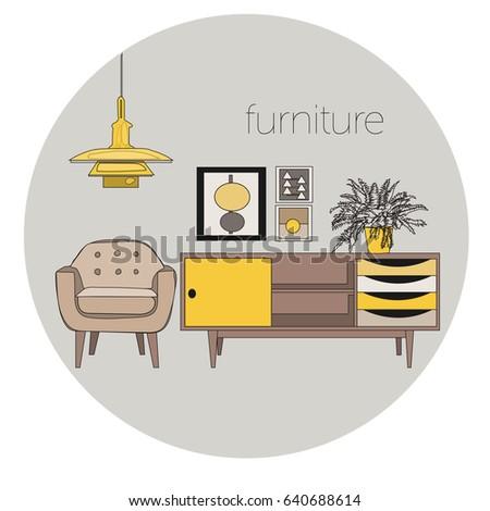 Furniture Interior Design Logo Vector Mid Century Modern Illustration