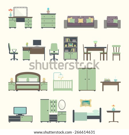 Furniture interior flat icons. Vector illustration EPS 10. - stock vector