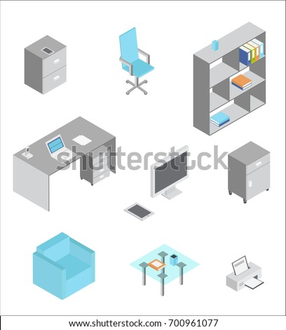 isometric office furniture vector collection. Furniture Isometric Icons. Vector Elements Of Office Interior Collection O