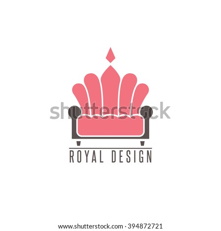 Furniture Logo Sofa Interior Design Creative Mockup Emblem Shape Crown Comfort Divan Icon
