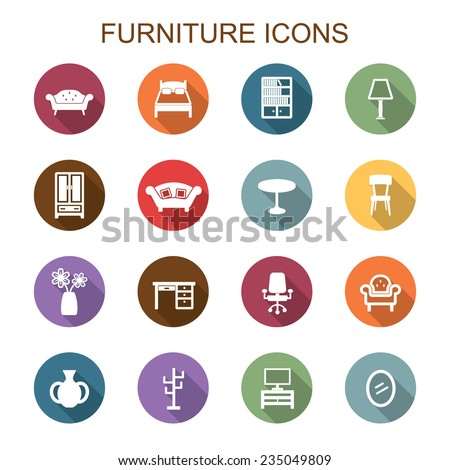 furniture long shadow icons, flat vector symbols - stock vector